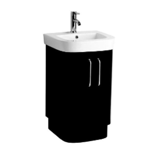 Vermont 500mm Black Gloss Floor Standing Cabinet & Basin - 1 Tap Hole